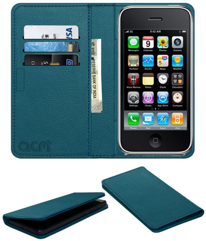 Apple Iphone 3gs 3 Flip Cover by ACM - Blue Wallet Case,Can store 3 Card/Cash