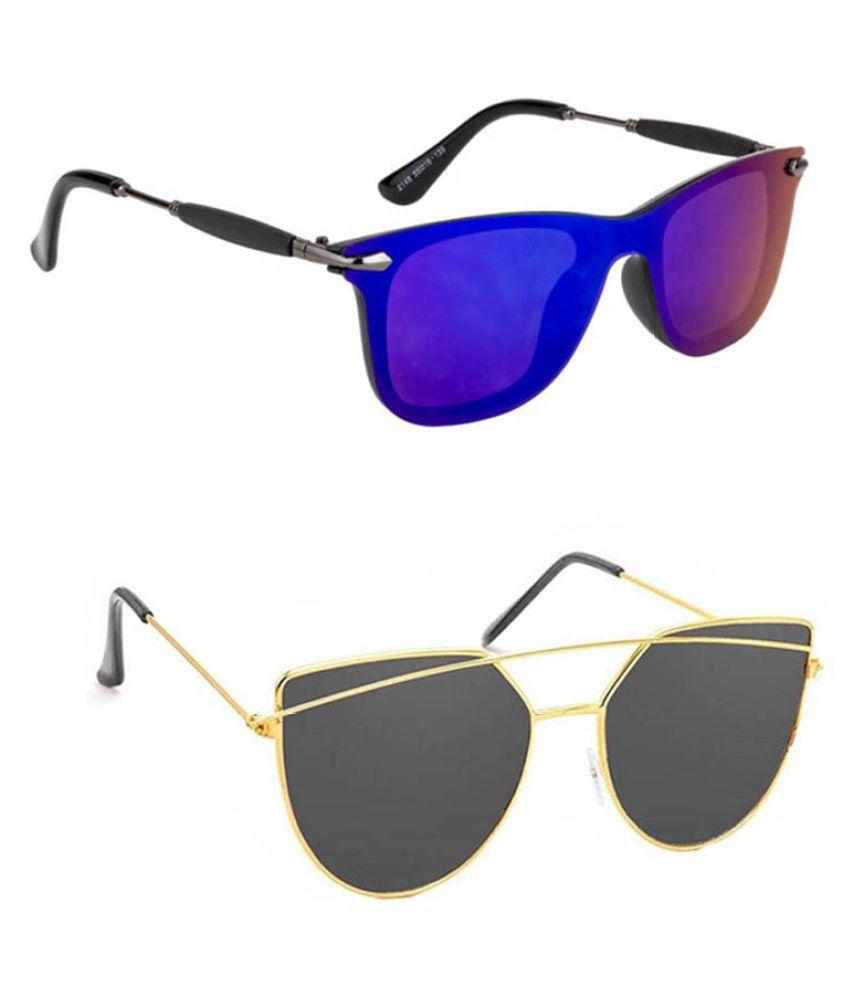 Lee Topper Blue Wayfarer Sunglasses ( DDS-112 )