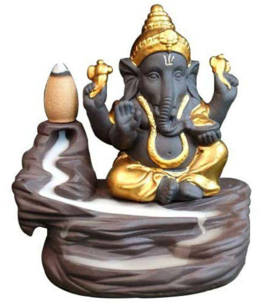 Dwivedi And Sons Gold Polyresin Lord Ganesha Smoke Backflow - Pack of 1