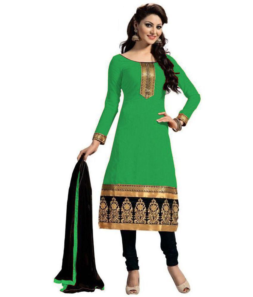 FIBREZA Green Cotton Dress Material