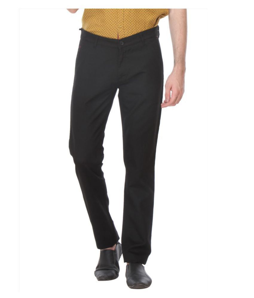 Crimsoune Club Black Slim -Fit Flat Trousers