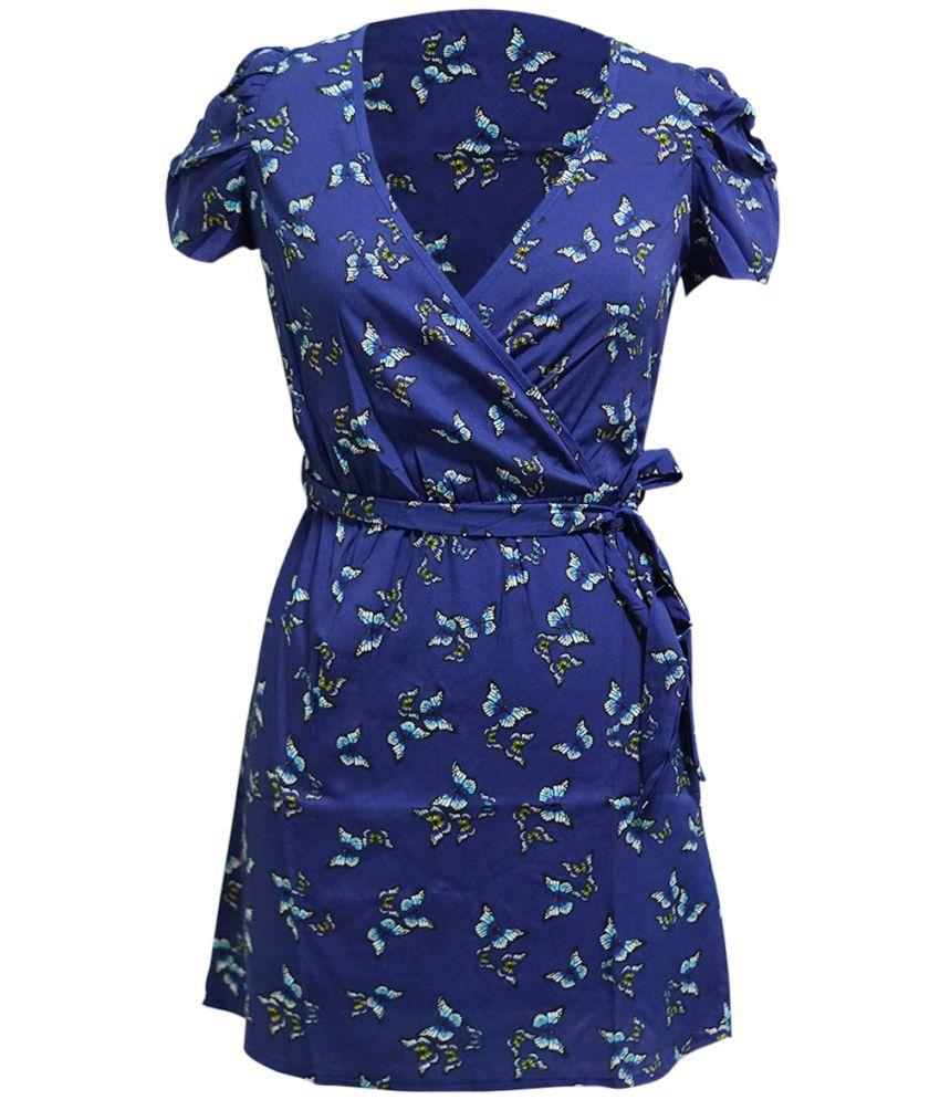Global Enterprises Crepe Blue Shift Dress