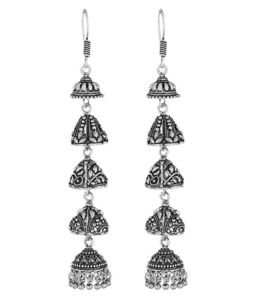 Malifionna Present Five Layer Black Metal Oxidized Jhumki Earring For Women's
