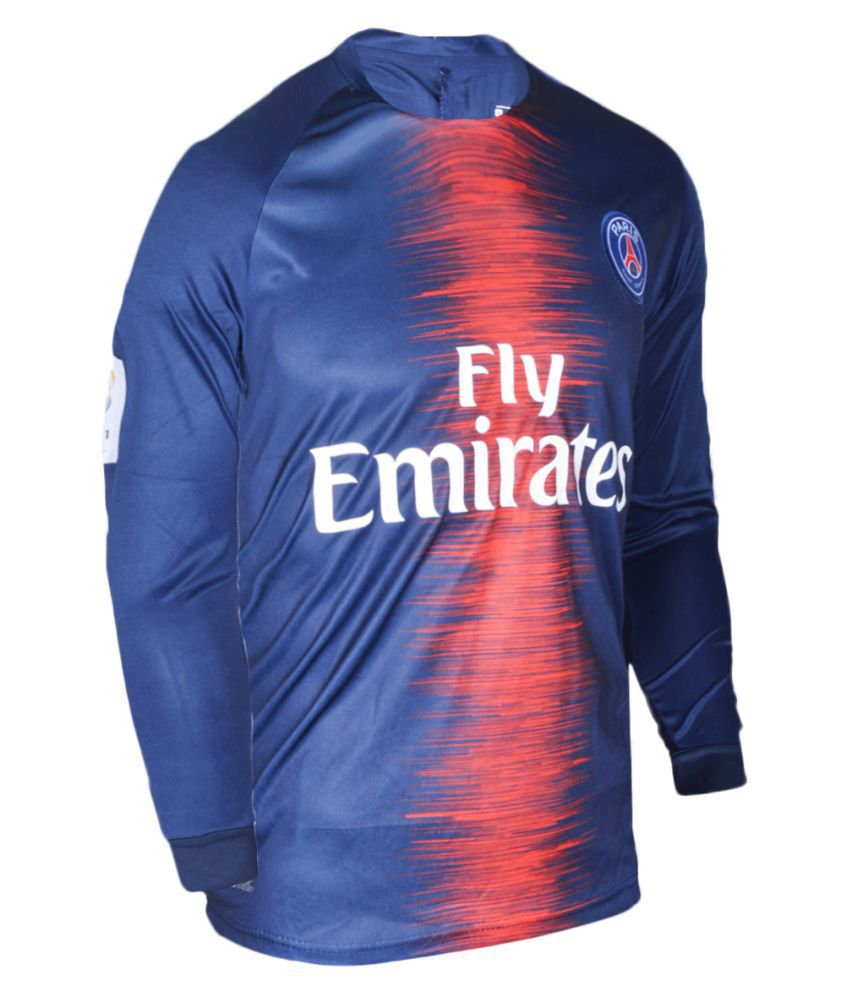 07370b14 PSG Football Team Dark Blue Color Dry Fit Long Sleeve Polyester Jersey