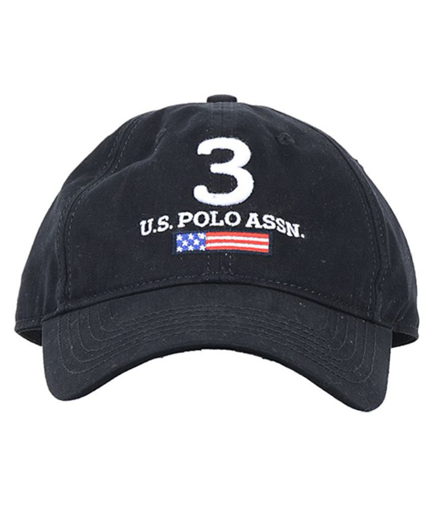 4adcb0d65cb U.S. Polo Assn. Black Embroidered Cotton Caps - Buy Online   Rs ...
