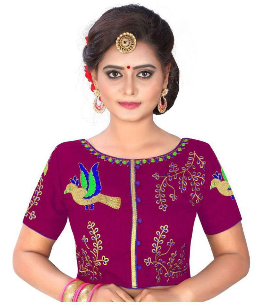 Womens Ethnic Multicoloured Silk Readymade with Pad Blouse