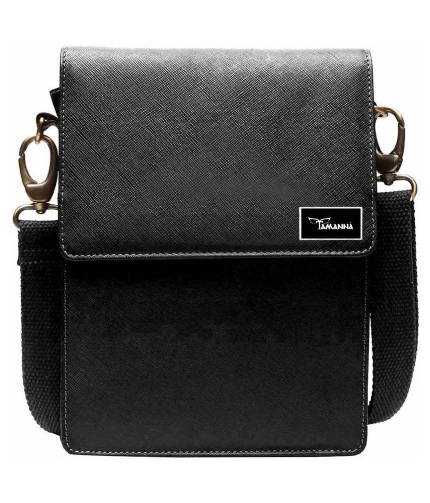 Tamanna LSBU5-TM_1 Black Leather Casual Messenger Bag
