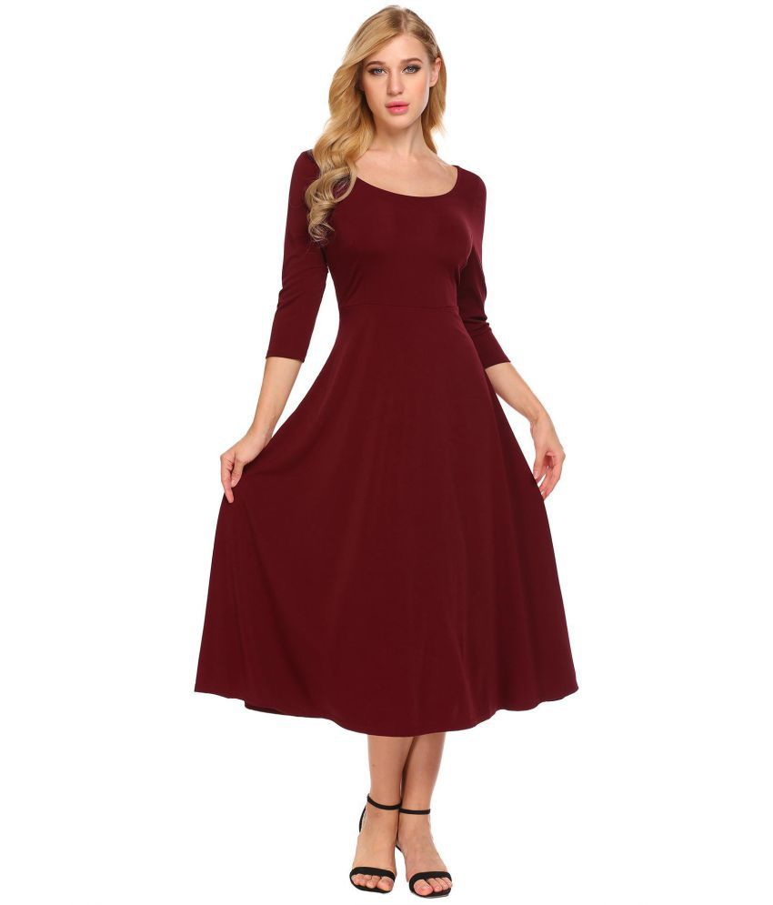 Generic Polyester Red Asymmetric dress
