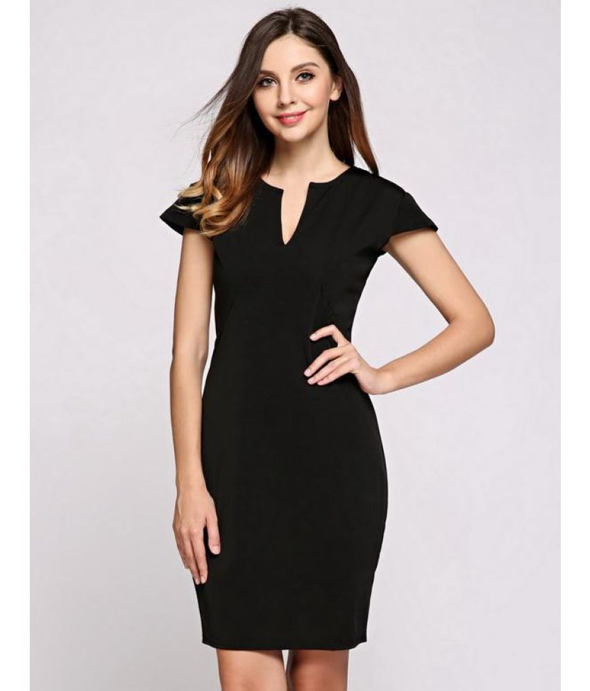 Generic Polyester Black Pencil Dress
