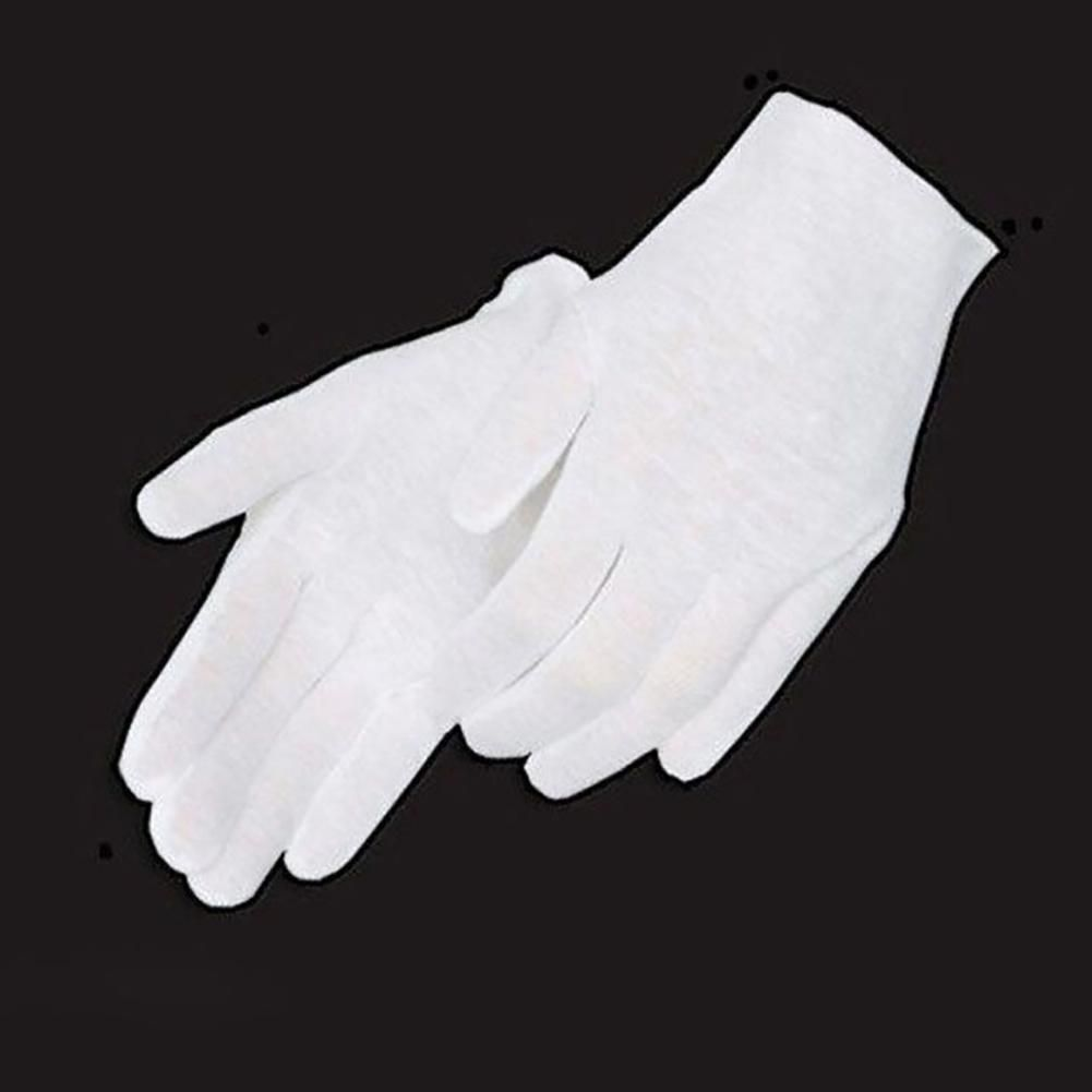 White Coin Jewelry Silver Inspection Cotton Lisle Gloves