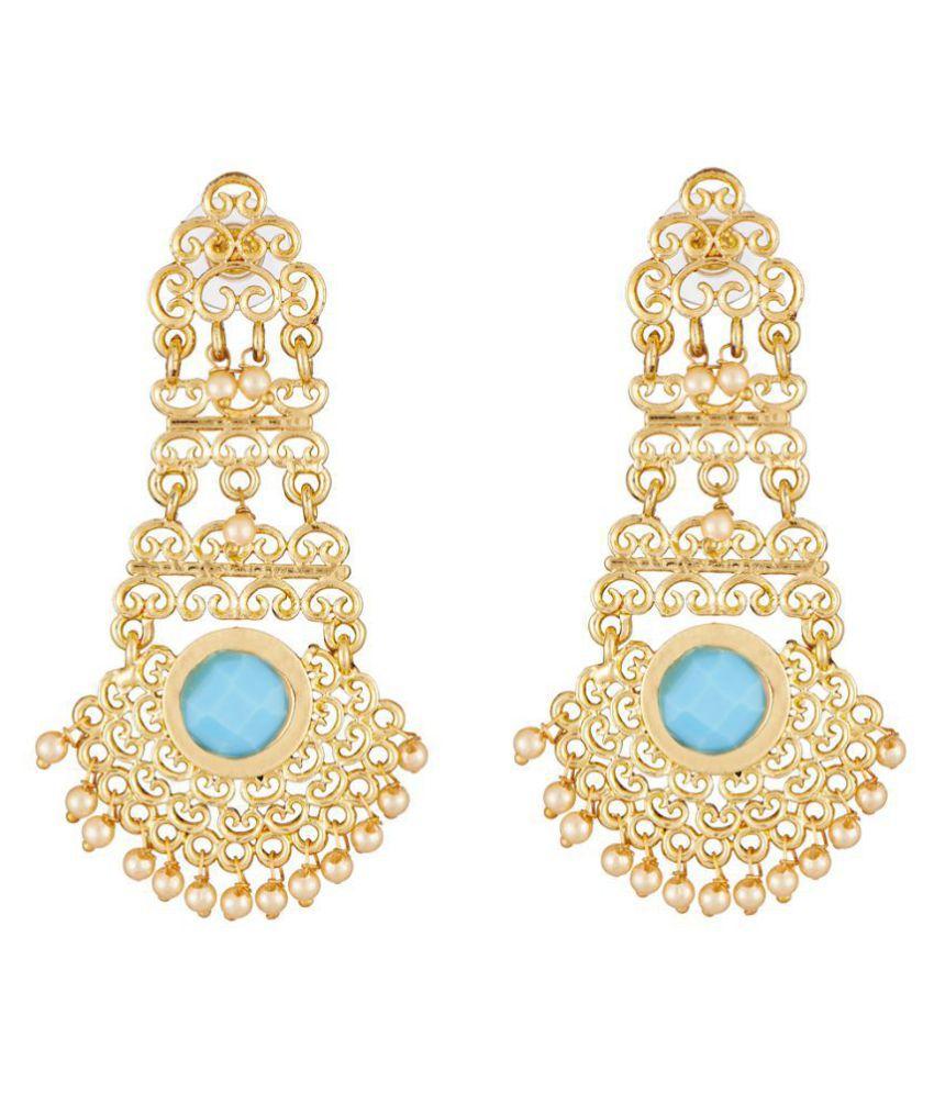 Elakshi Flourish design Blue Stone Gold Plated Women Earrrings (SC_1036_ER)