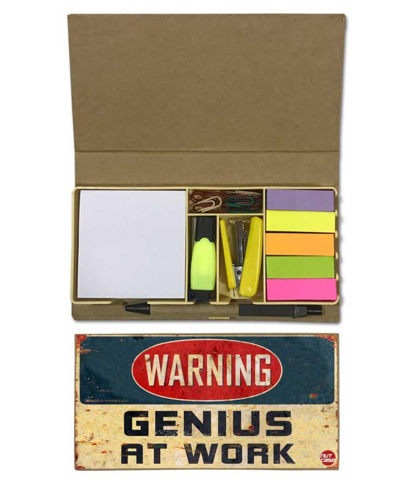 Nutcase Designer Stationary Kit Desk Customised Organizer Memo Notepad - Genius At Work