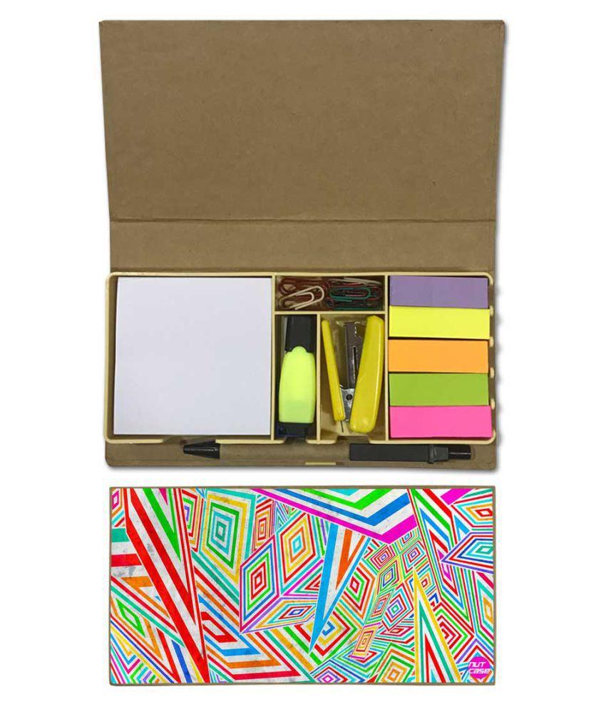 Nutcase Designer Stationary Kit Desk Customised Organizer Memo Notepad - Colored Diamonds