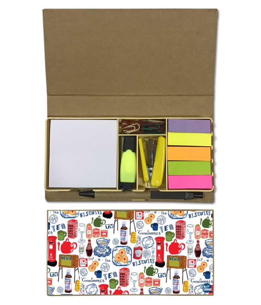 Nutcase Designer Stationary Kit Desk Customised Organizer Memo Notepad - Biscuit