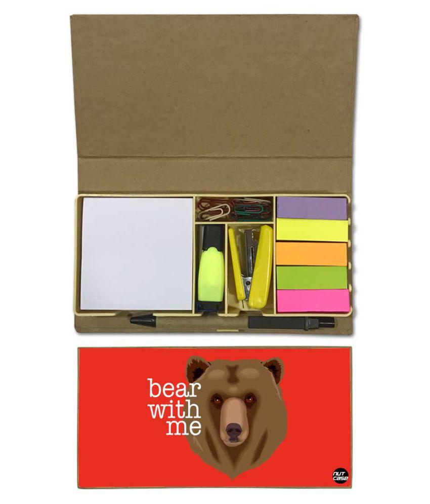 Nutcase Designer Stationary Kit Desk Customised Organizer Memo Notepad - Bear With Me