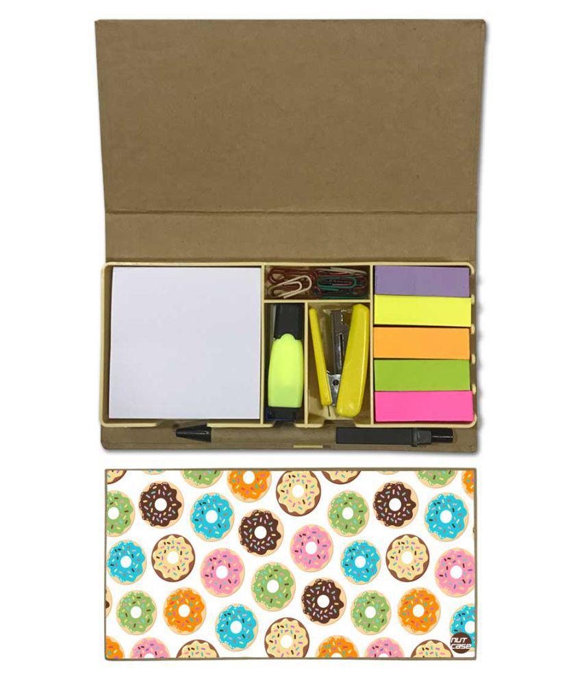 Nutcase Designer Stationary Kit Desk Customised Organizer Memo Notepad - Sweet Doughnuts