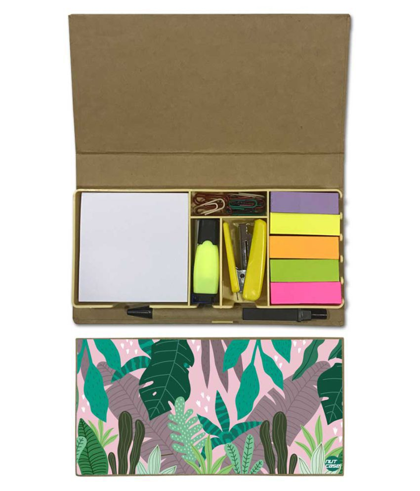 Nutcase Designer Stationary Kit Desk Customised Organizer Memo Notepad - Pink Tropical Vibes