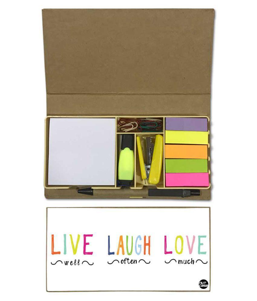 Nutcase Designer Stationary Kit Desk Customised Organizer Memo Notepad - Live Laugh Love