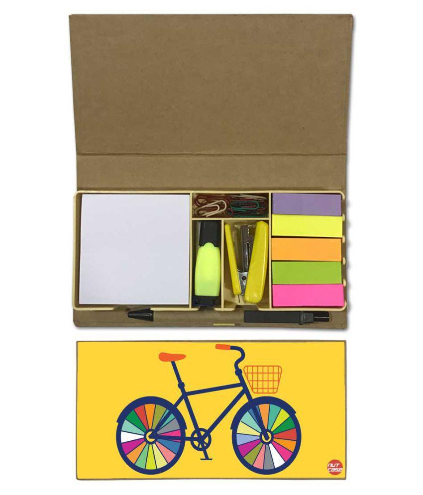 Nutcase Designer Stationary Kit Desk Customised Organizer Memo Notepad - cycle