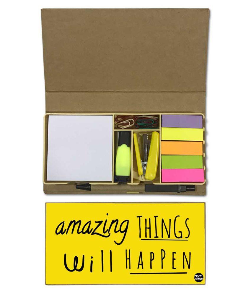 Nutcase Designer Stationary Kit Desk Customised Organizer Memo Notepad - Amazing Things Will Happen