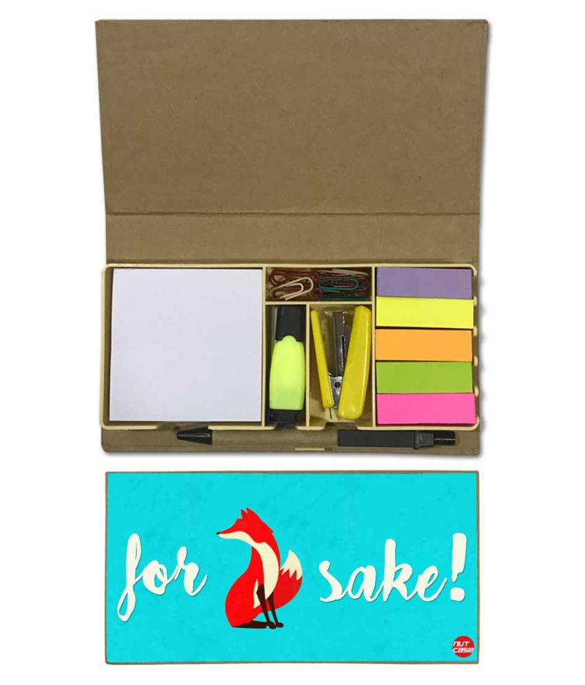 Nutcase Designer Stationary Kit Desk Customised Organizer Memo Notepad - Fox Sake