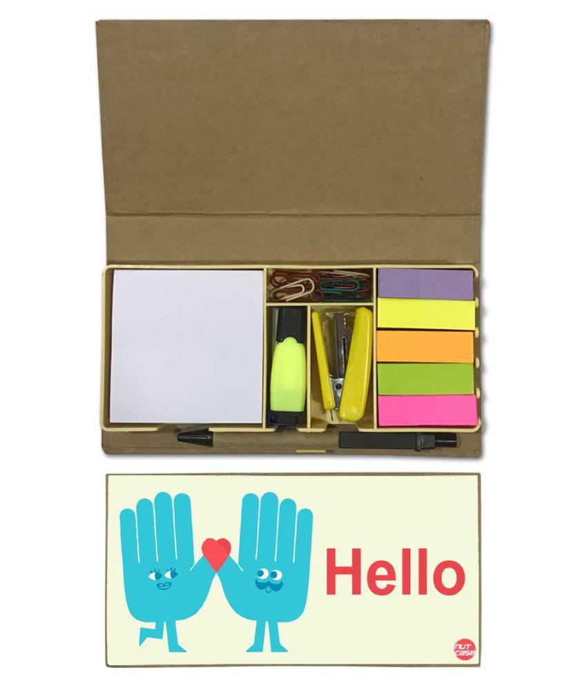 Nutcase Designer Stationary Kit Desk Customised Organizer Memo Notepad - Hello
