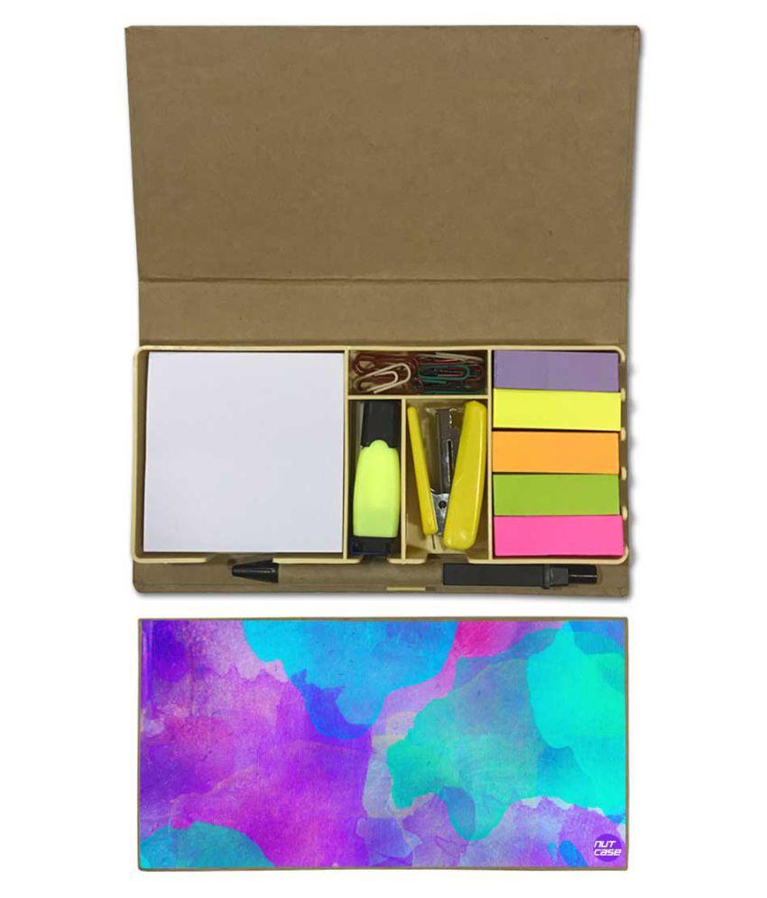 Nutcase Designer Stationary Kit Desk Customised Organizer Memo Notepad - Blue And Purple Watercolor