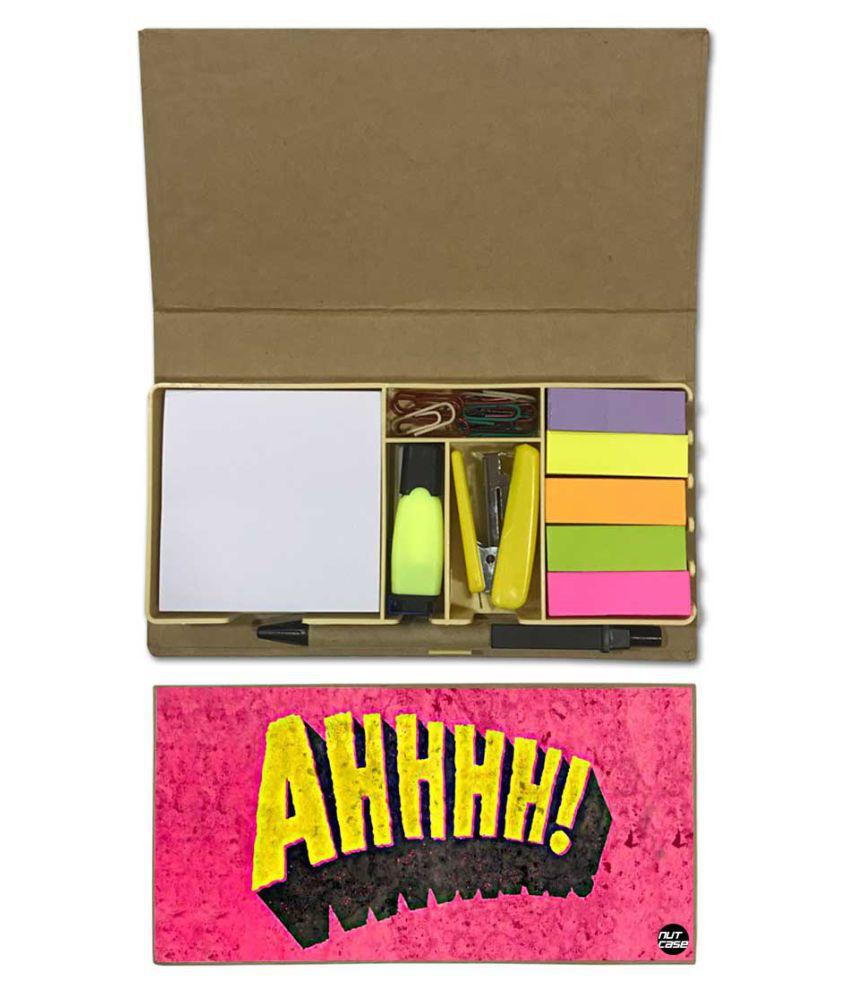 Nutcase Designer Stationary Kit Desk Customised Organizer Memo Notepad - Ahhhh