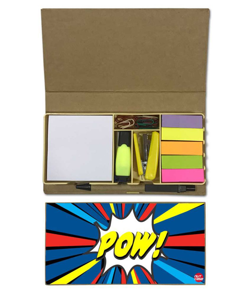 Nutcase Designer Stationary Kit Desk Customised Organizer Memo Notepad - Pow