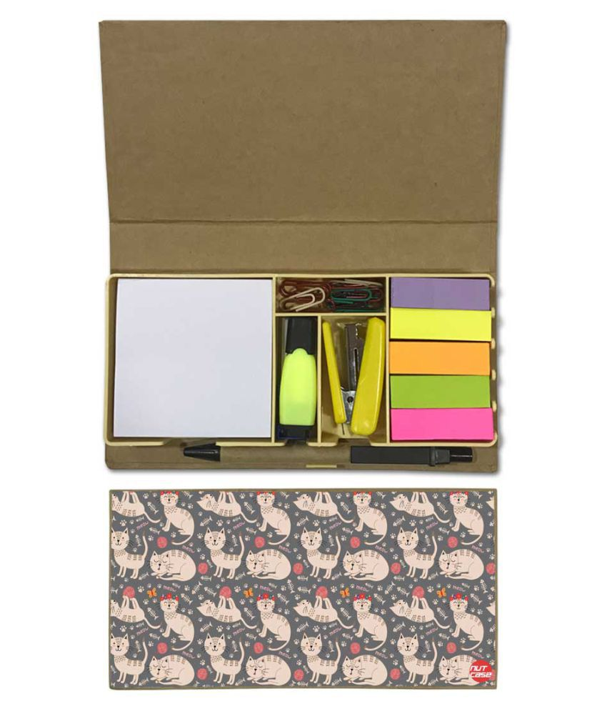 Nutcase Designer Stationary Kit Desk Customised Organizer Memo Notepad - Cut Cat