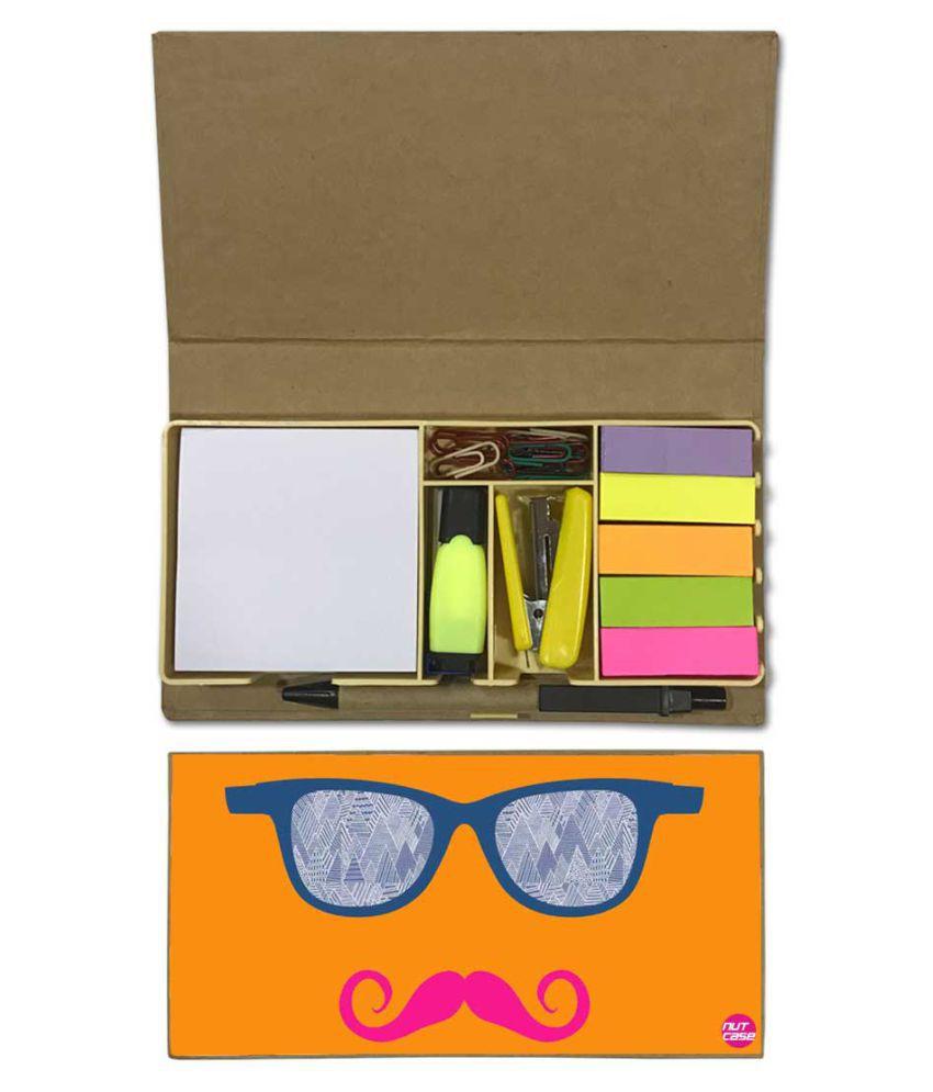 Nutcase Designer Stationary Kit Desk Customised Organizer Memo Notepad - Pink Mustache