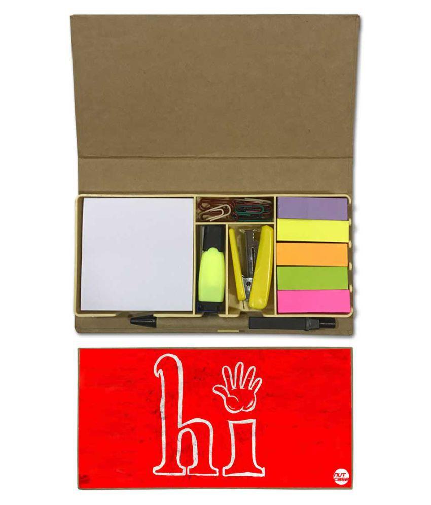 Nutcase Designer Stationary Kit Desk Customised Organizer Memo Notepad - Hi