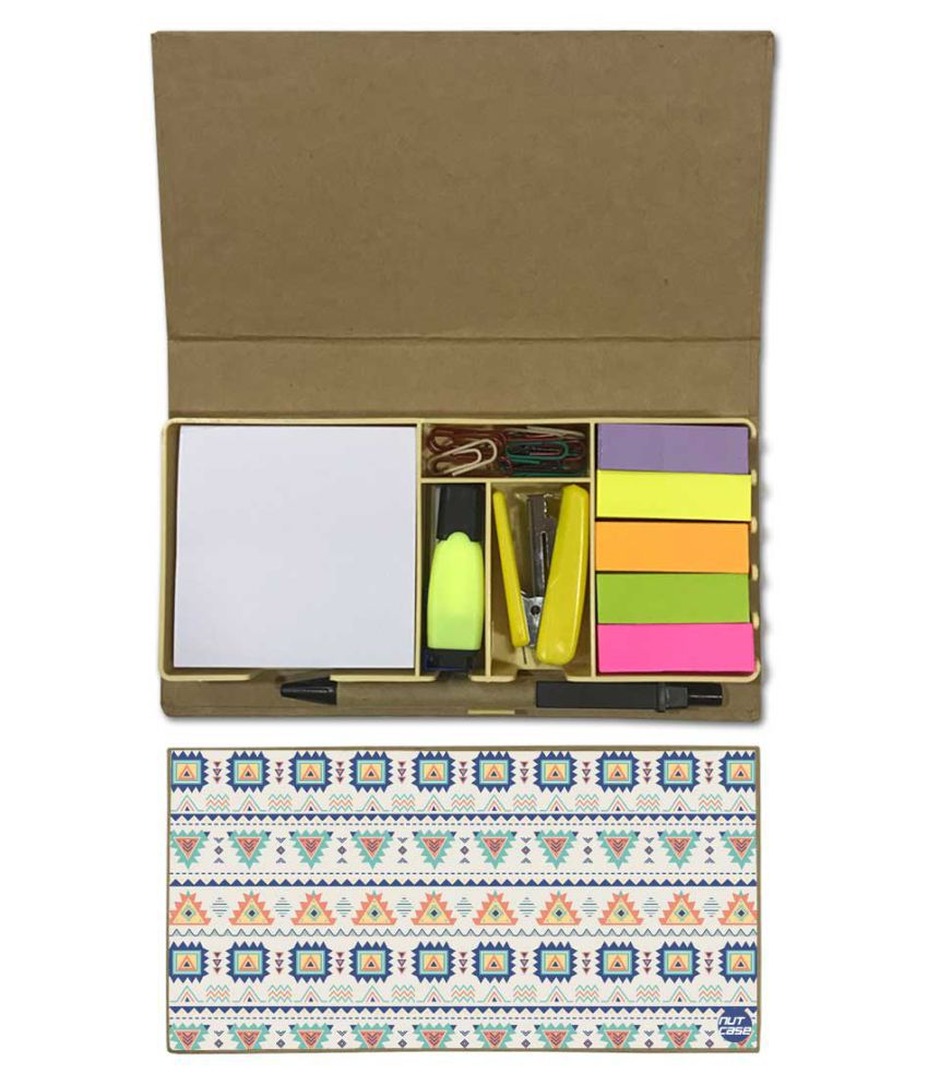 Nutcase Designer Stationary Kit Desk Customised Organizer Memo Notepad - Geometric Design