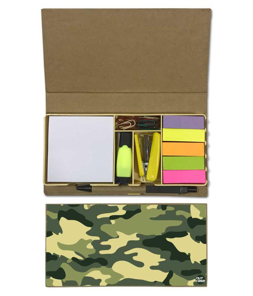 Nutcase Designer Stationary Kit Desk Customised Organizer Memo Notepad - Army