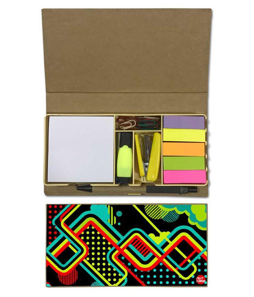 Nutcase Designer Stationary Kit Desk Customised Organizer Memo Notepad - Colorful Design