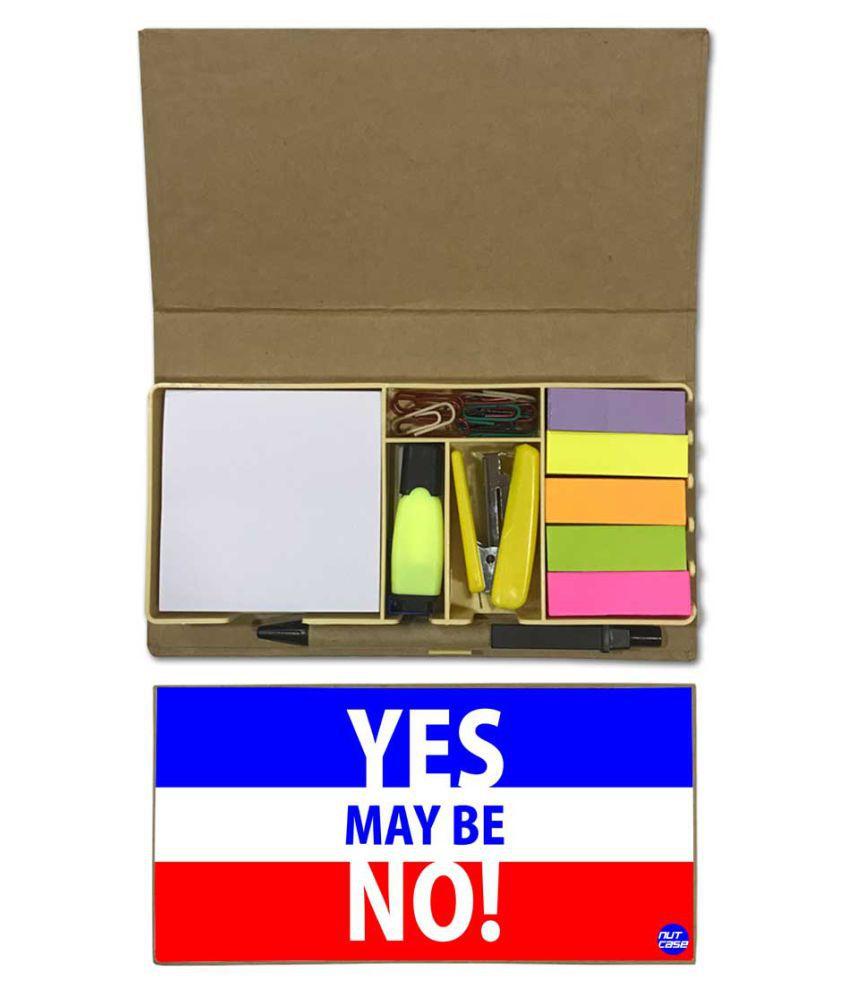 Nutcase Designer Stationary Kit Desk Customised Organizer Memo Notepad - Yes May Be No