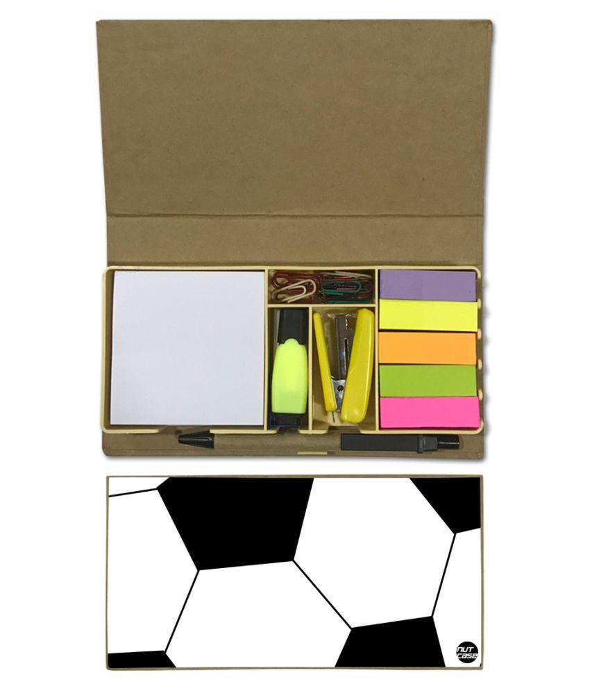 Nutcase Designer Stationary Kit Desk Customised Organizer Memo Notepad - Football\n