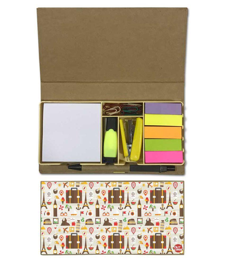 Nutcase Designer Stationary Kit Desk Customised Organizer Memo Notepad - Suitcase And Eiffel Tower\n
