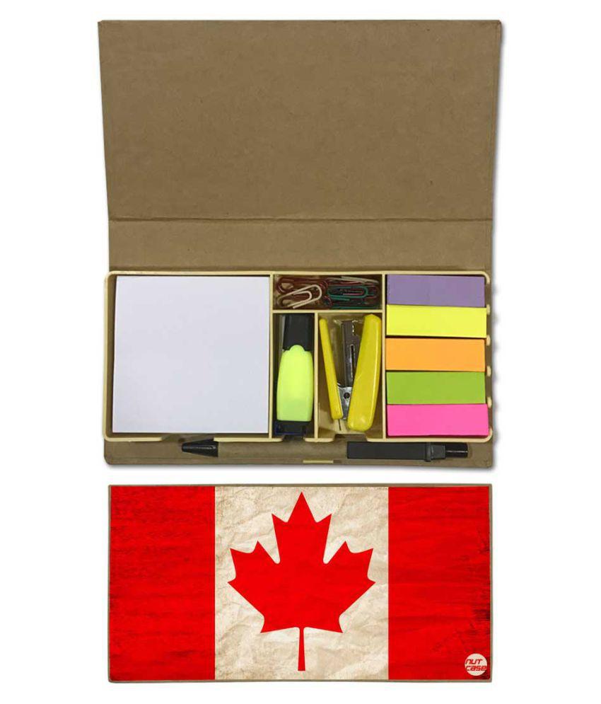 Nutcase Designer Stationary Kit Desk Customised Organizer Memo Notepad - Canada Vintage Distressed Flag
