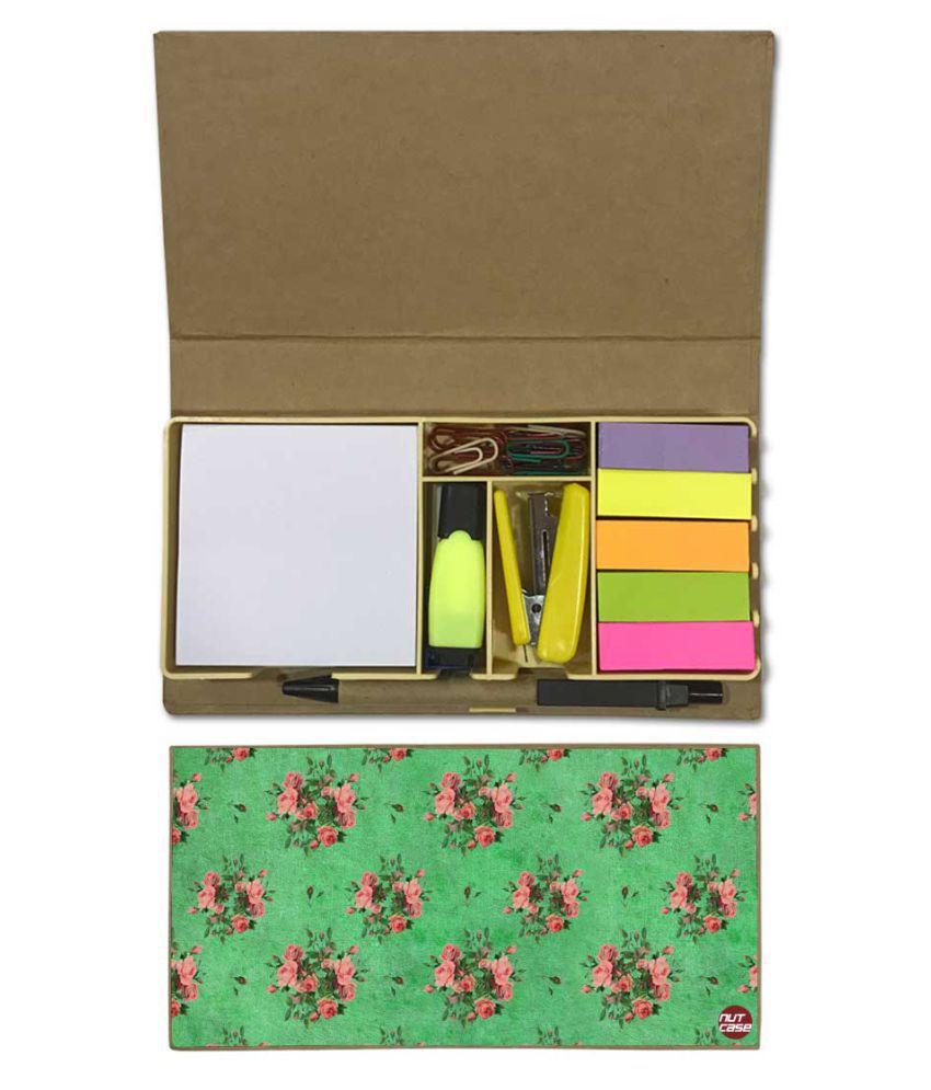 Nutcase Designer Stationary Kit Desk Customised Organizer Memo Notepad - Pink Floral