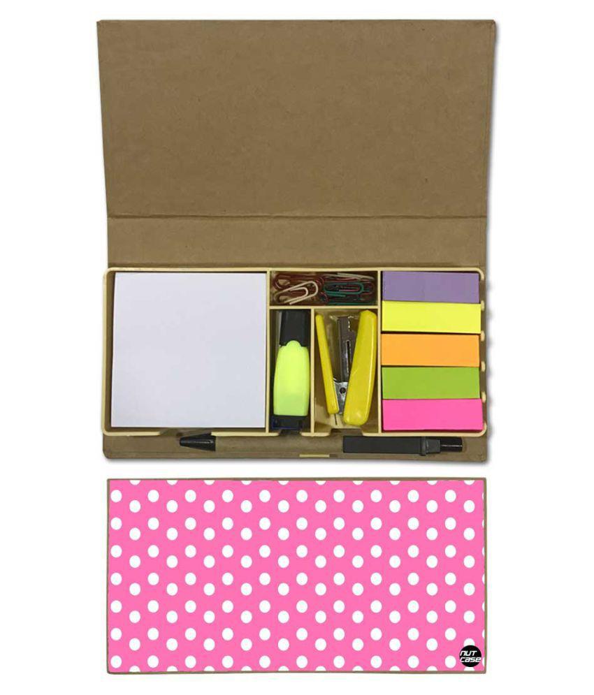 Nutcase Designer Stationary Kit Desk Customised Organizer Memo Notepad - White Dots With Pink Background