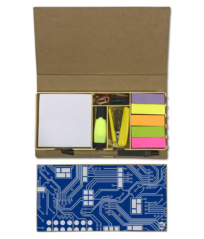Nutcase Designer Stationary Kit Desk Customised Organizer Memo Notepad - Blue Chip