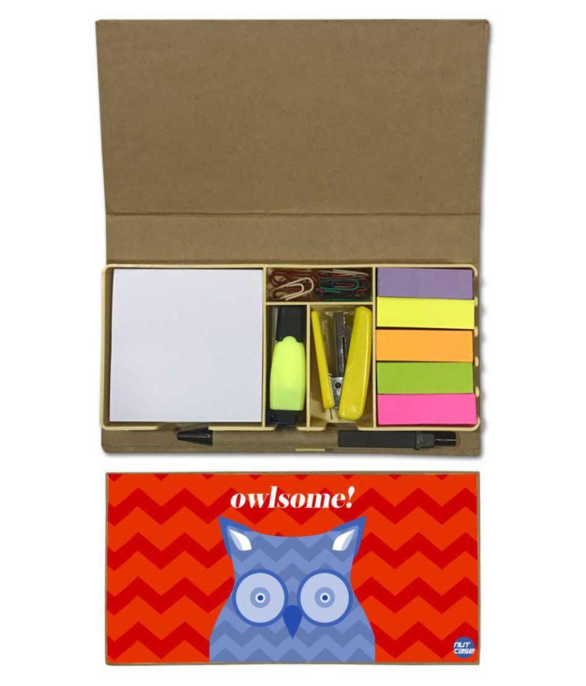 Nutcase Designer Stationary Kit Desk Customised Organizer Memo Notepad - Owlsome