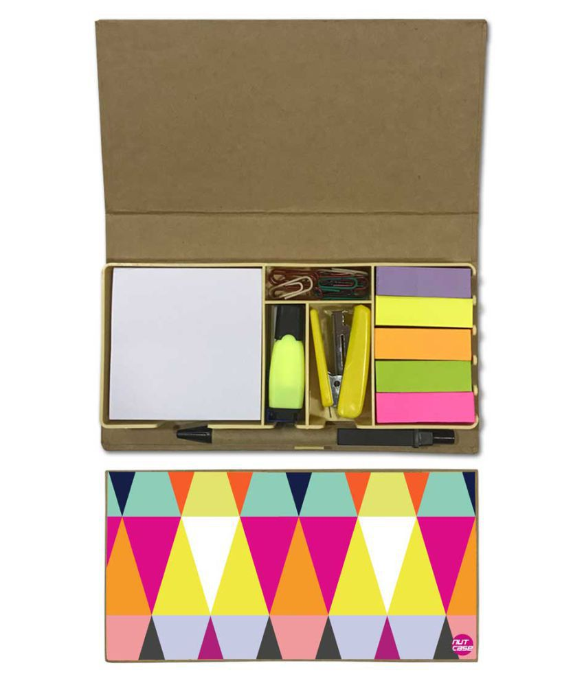 Nutcase Designer Stationary Kit Desk Customised Organizer Memo Notepad - Colorful Triangle
