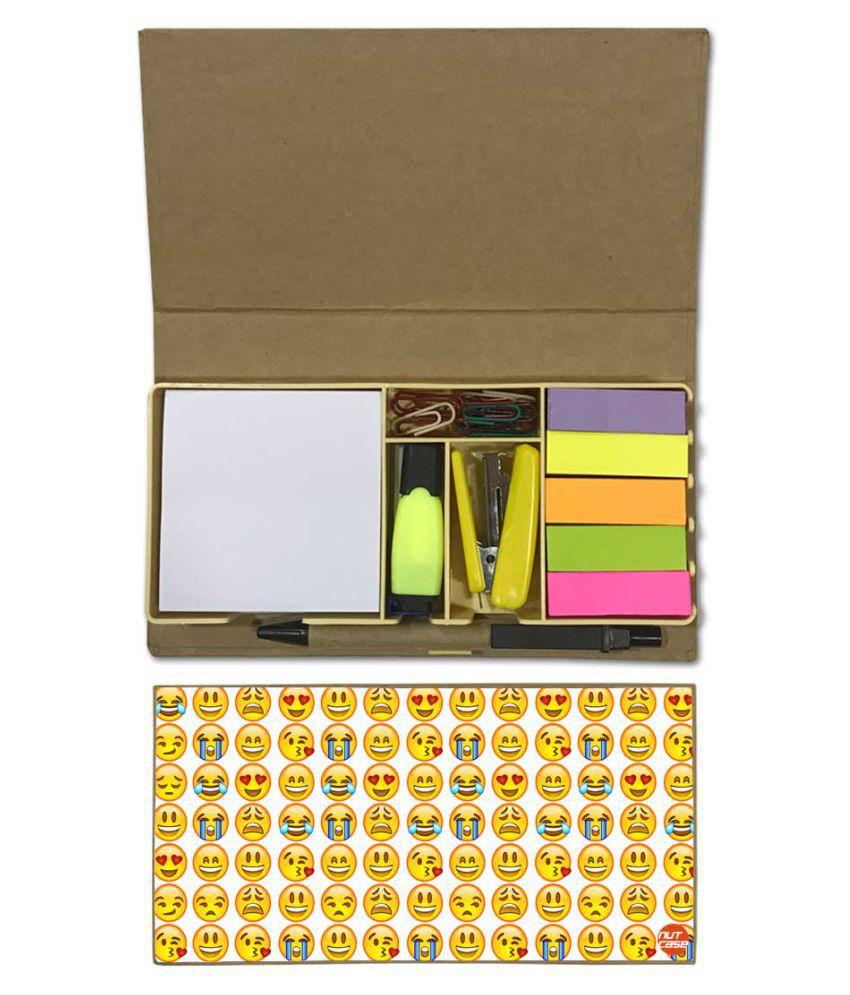 Nutcase Designer Stationary Kit Desk Customised Organizer Memo Notepad - Emoji