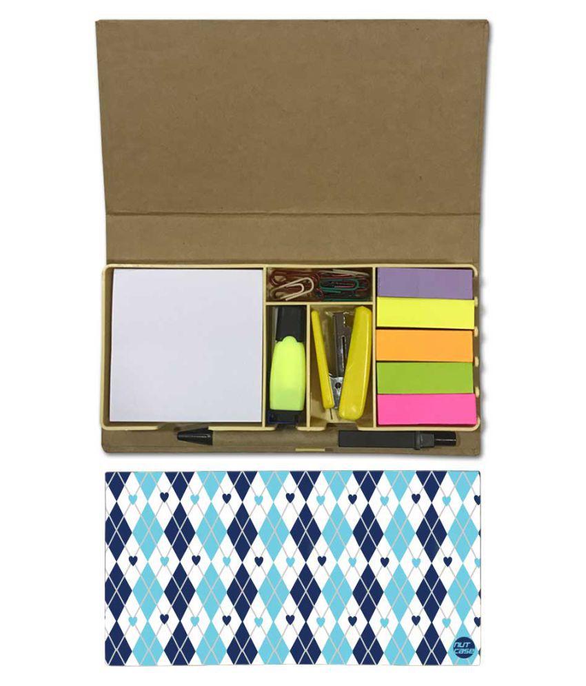 Nutcase Designer Stationary Kit Desk Customised Organizer Memo Notepad - Blue And White Diamond