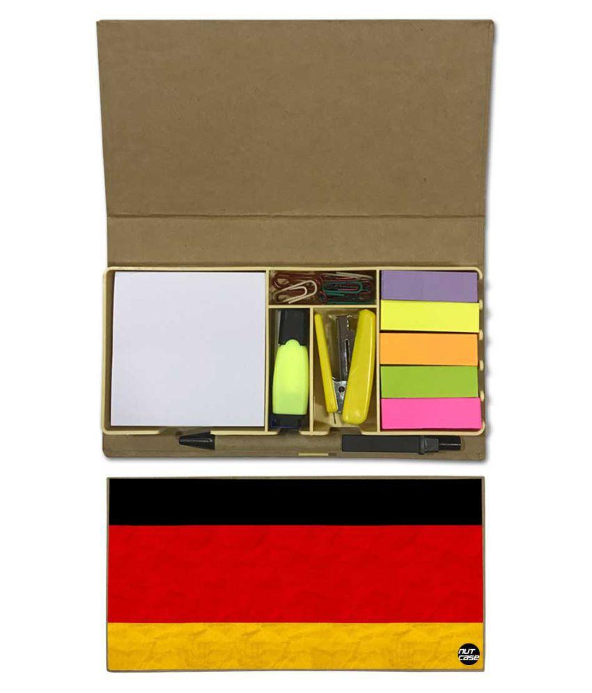 Nutcase Designer Stationary Kit Desk Customised Organizer Memo Notepad - Germany Vintage Distressed Flag