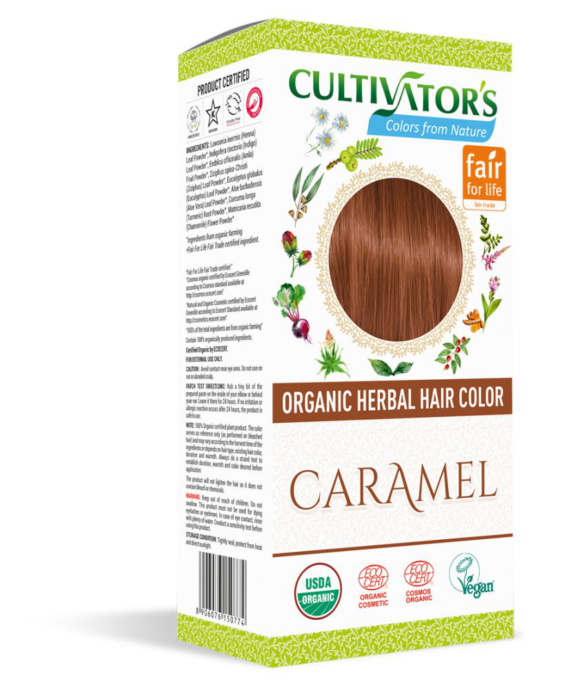 Cultivator's Organic Herbal Hair Color Semi Permanent Hair Color Brunette Caramel 100 gm