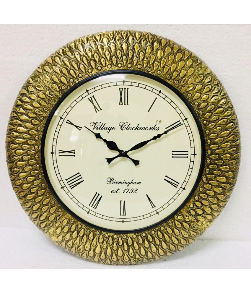 Indian Handicraft Circular Analog Wall Clock ( 44 x 44 cms )