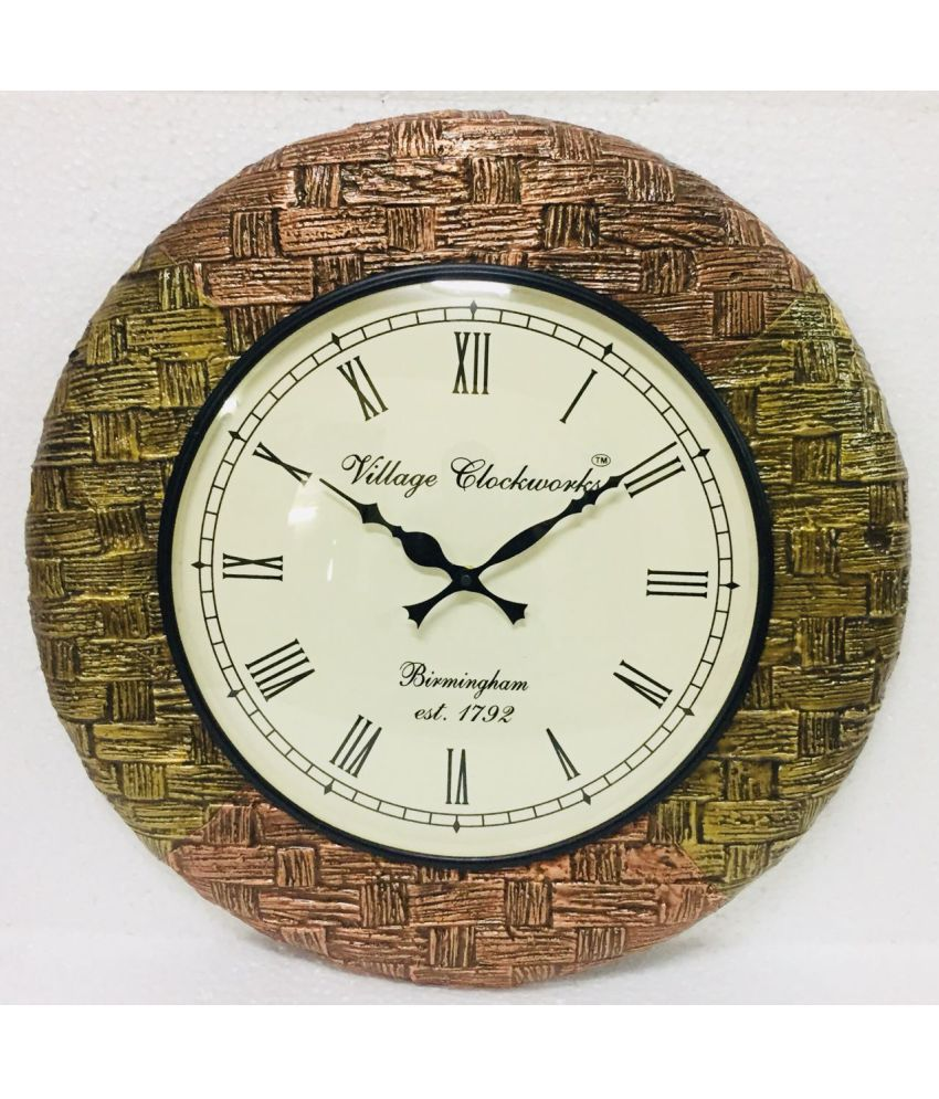 Indian Handicraft Circular Analog Wall Clock ( 44 x 44 cms )